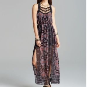 Free People Sheer Moroccan Lace Bib Maxi Dress